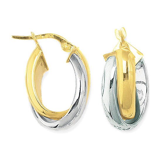 14K Two Tone Gold 23.8mm Hoop Earrings