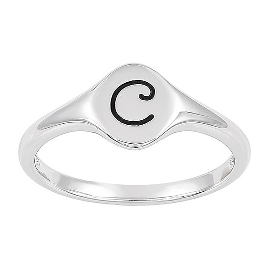 Womens Sterling Silver Signet Ring