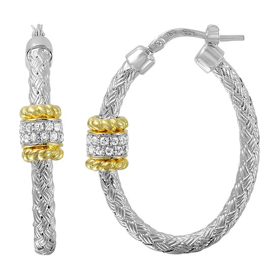 Paris 1901 By Charles Garnier White Cubic Zirconia 18K Gold Over Silver Hoop Earrings