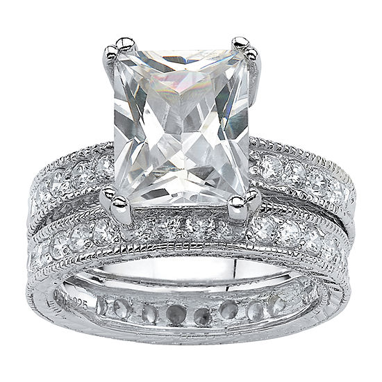 Diamonart Womens 6 CT. T.W. White Cubic Zirconia Sterling Silver Bridal Set