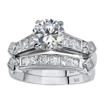 Womens 3 1/4 CT. T.W. White Cubic Zirconia Platinum Over Silver Bridal Set
