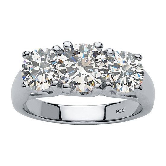 Diamonart Womens 4 1/4 CT. T.W. White Cubic Zirconia Platinum Over Silver Engagement Ring