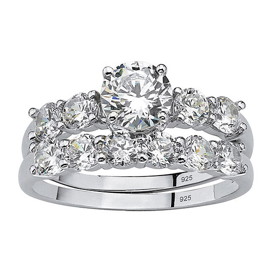 Diamonart Womens 2 1 2 Ct Tw White Cubic Zirconia Platinum Over Silver Bridal Set