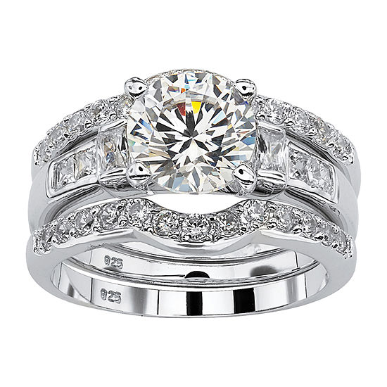 Womens 3 CT. T.W. White Cubic Zirconia Platinum Over Silver Bridal Set