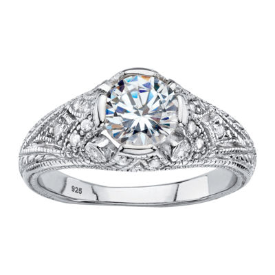 Diamonart Womens 1 3/4 CT. T.W. White Cubic Zirconia Sterling Silver Engagement Ring