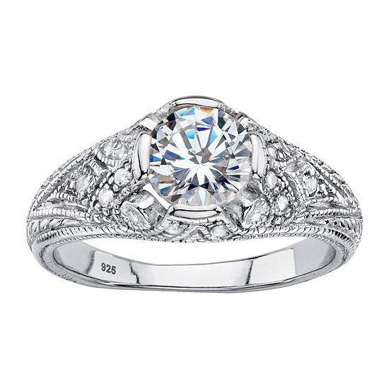DiamonArt® Womens 1 3/4 CT. T.W. White Cubic Zirconia Sterling Silver Engagement Ring