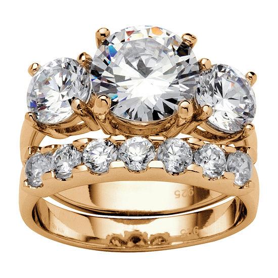 Diamonart Womens 5 1/2 CT. T.W. White Cubic Zirconia 14K Gold Over Silver Bridal Set