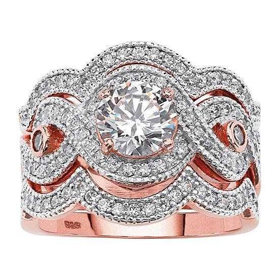 Diamonart Womens 2 1/3 CT. T.W. White Cubic Zirconia 14K Rose Gold Over Silver Bridal Set