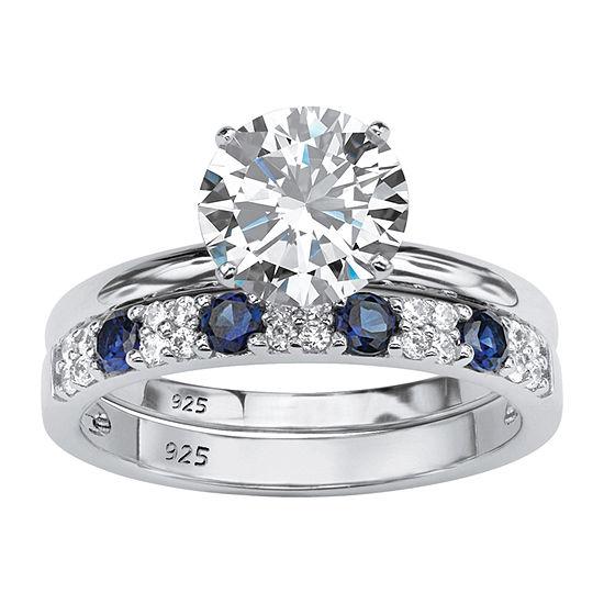 DiamonArt® Womens 2 1/2 CT. T.W. White Cubic Zirconia Platinum Over Silver Bridal Set