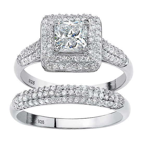 Diamonart Womens 1 1 2 Ct Tw White Cubic Zirconia Platinum Over Silver Bridal Set