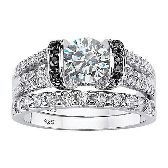 DiamonArt® Womens 2 1/3 CT. T.W. White Cubic Zirconia Platinum Over Silver Bridal Set
