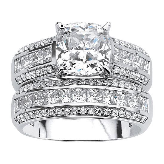 Diamonart Womens 3 1/4 CT. T.W. White Cubic Zirconia Platinum Over Silver Bridal Set
