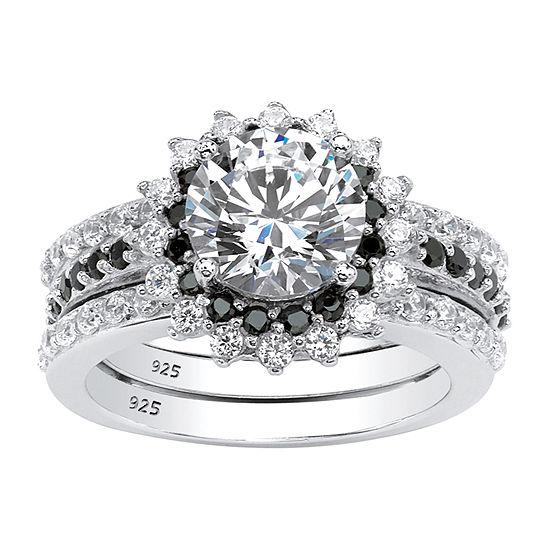 Diamonart Womens 3 CT. T.W. White Cubic Zirconia Platinum Over Silver Bridal Set
