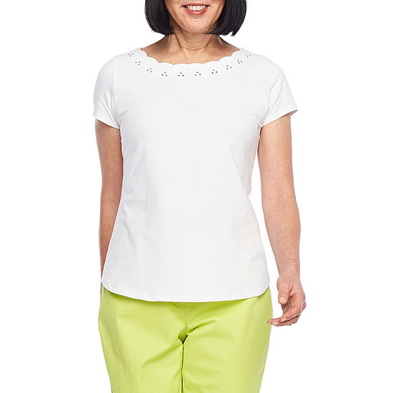 Hearts Of Palm Blush Strokes Womens Scallop Neck Short Sleeve T Shirt