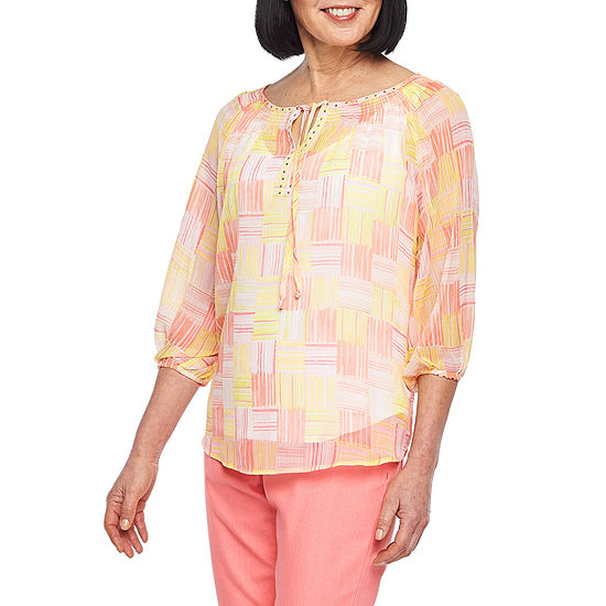 Hearts Of Palm Blush Strokes Womens Split Crew Neck 3/4 Sleeve Lined Blouse