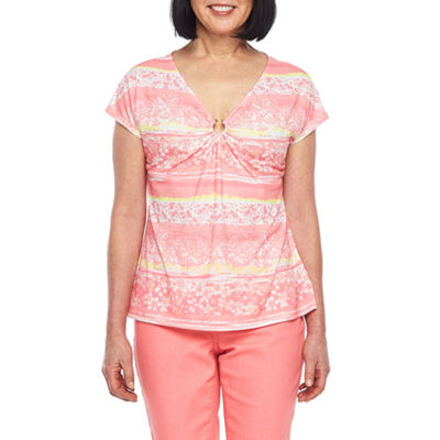 Hearts Of Palm Blush Strokes-Womens V Neck Short Sleeve T-Shirt