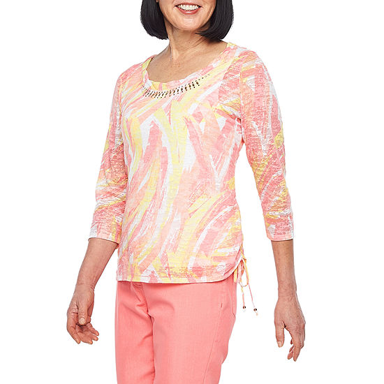 Hearts Of Palm Blush Strokes-Womens Scoop Neck 3/4 Sleeve T-Shirt