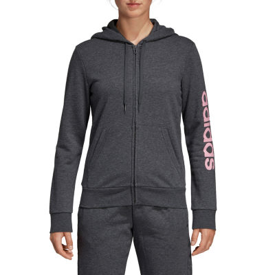 adidas Ft Logo Zip Womens Long Sleeve Knit Hoodie
