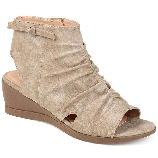 Journee Collection Womens Ramona Zip Peep Toe Wedge Heel Pumps