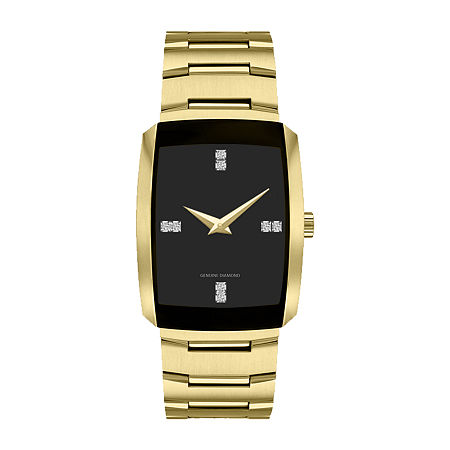 Red Bow Deal 1/10 Ct. T.W. Diamond Mens Chronograph Diamond Accent Gold Tone Bracelet Watch 3653g-18-G27, One Size