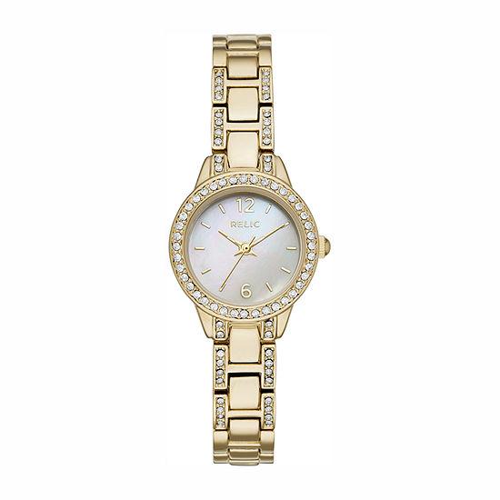 Relic By Fossil Womens Gold Tone Bracelet Watch-Zr34506