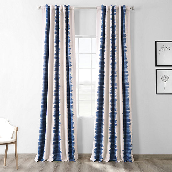 Exclusive Fabrics & Furnishing Printed Blackout Back-Tab Single Curtain Panel