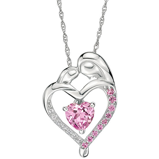 Womens Genuine Pink Sapphire Sterling Silver Heart Pendant Necklace