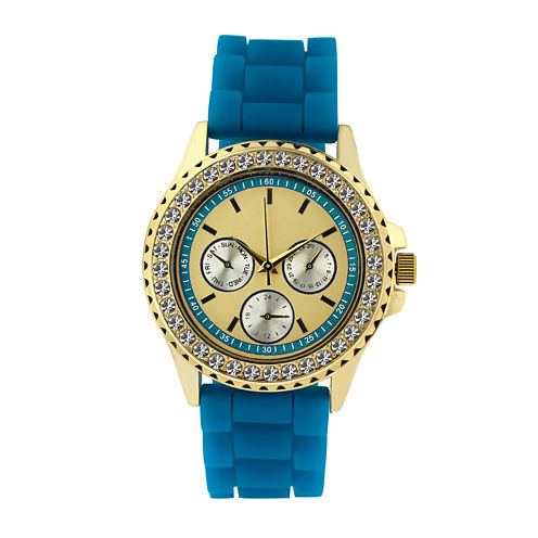 Womens Crystal Accent Blue Silicone Bracelet Watch