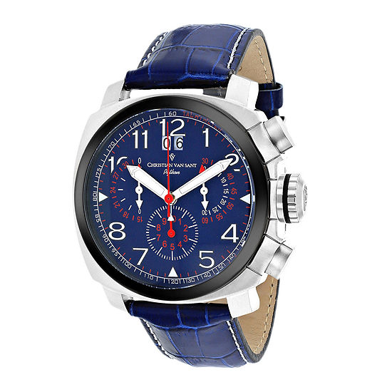 Christian Van Sant Mens Grand Python Blue & Silver-Tone Leather Strap Watch