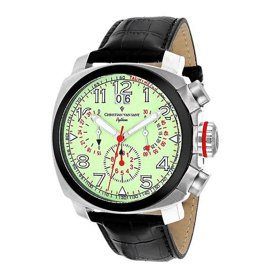 Christian Van Sant Grand Python Mens Black & Green Leather Strap Watch