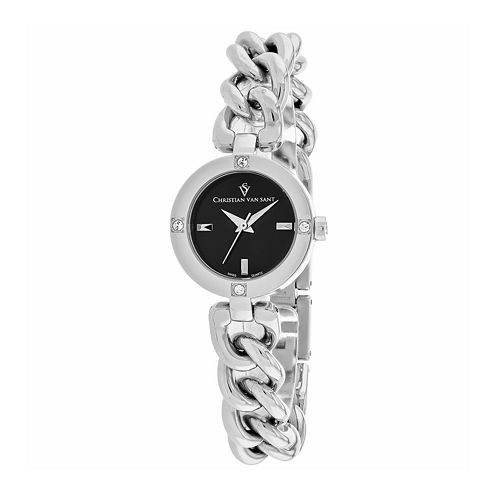 Christian Van Sant Sultry Womens Silver-Tone & Black Bracelet Watch