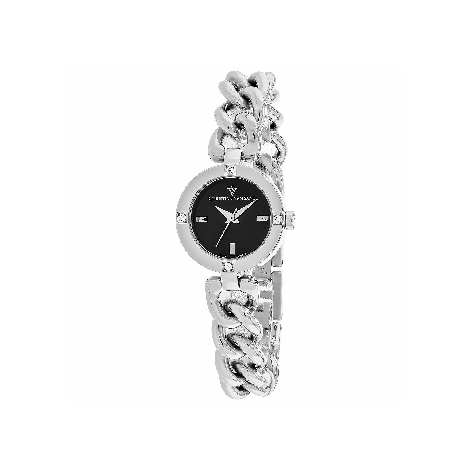 Christian Van Sant Sultry Womens Silver-Tone & Black Bracelet Watch