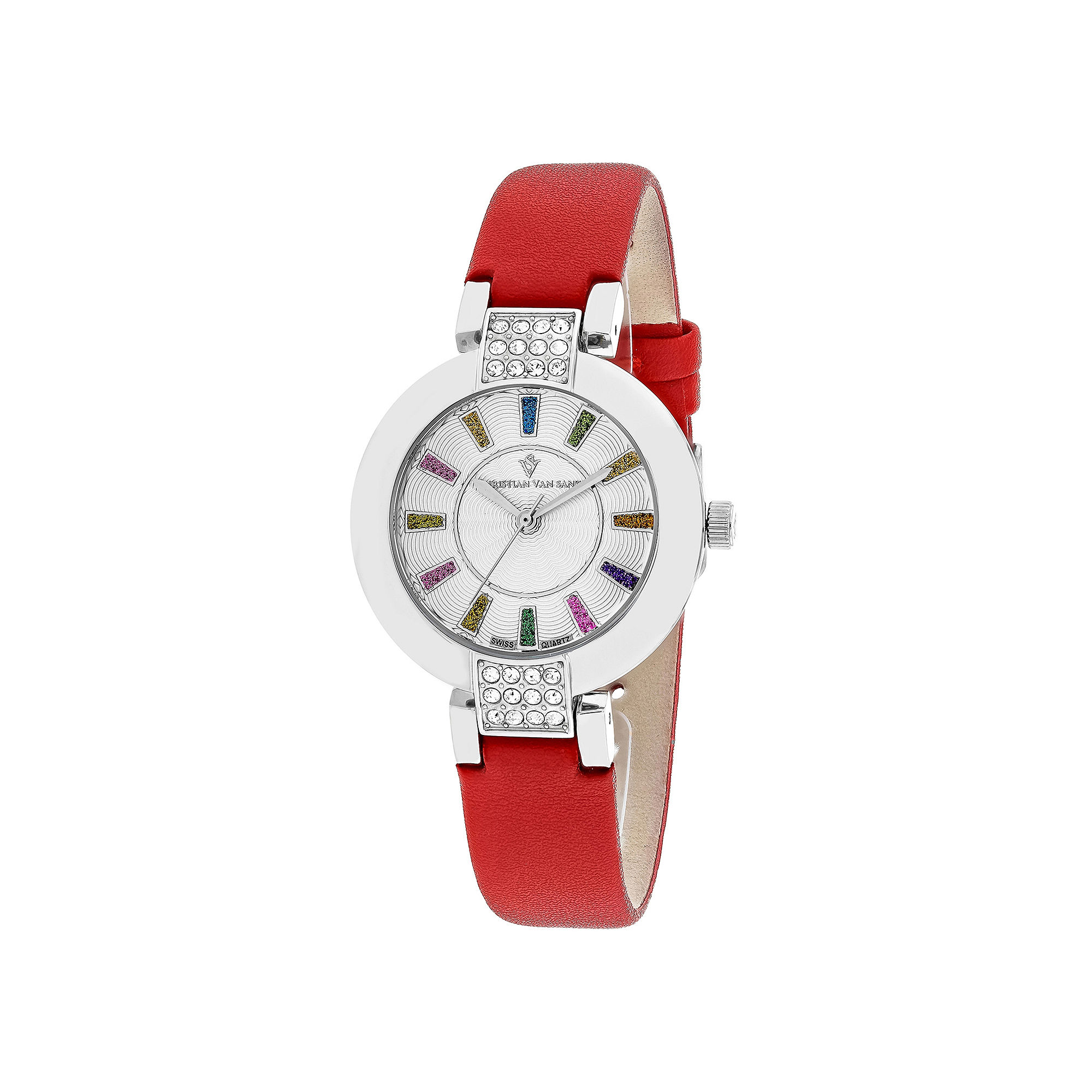 Christian Van Sant Celine Womens Silver-Tone Dial and Red Leather Strap Watch