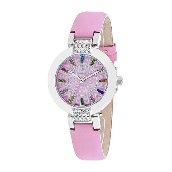 Christian Van Sant Celine Womens Pink Dial and Pink Leather Strap Watch