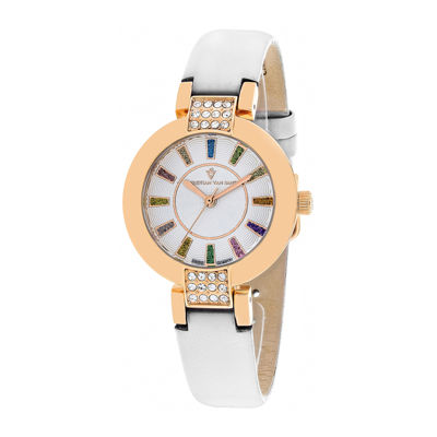Christian Van Sant Celine Womens Silver-Tone Dial and White Leather Strap Watch