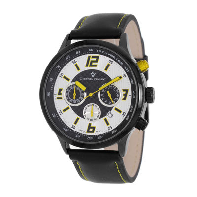 Christian Van Sant Speedway Mens Black Leather Strap Watch