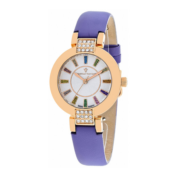 Christian Van Sant Celine Womens Silver Dial Purple Leather Strap Watch