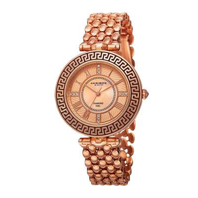Akribos XXIV Womens Rose Gold-Tone Dial Rose Gold IP Bracelet Watch