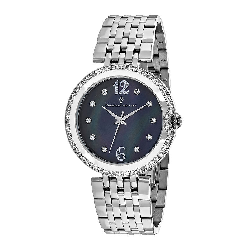 Christian Van Sant Jasmine Womens Silver-Tone Bracelet Watch