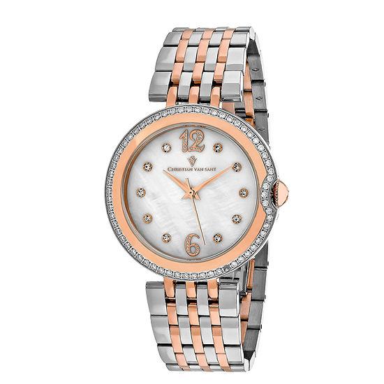 Christian Van Sant Jasmine Womens Two-Tone Bracelet Watch