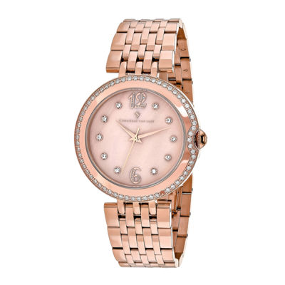 Christian Van Sant Jasmine Womens Mother-of-Pearl and Rose-Tone Bracelet Watch