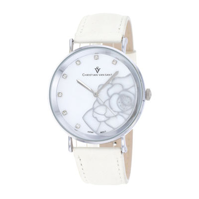 Christian Van Sant Fleur Womens Mother-of-Pearl White Leather Bracelet Watch