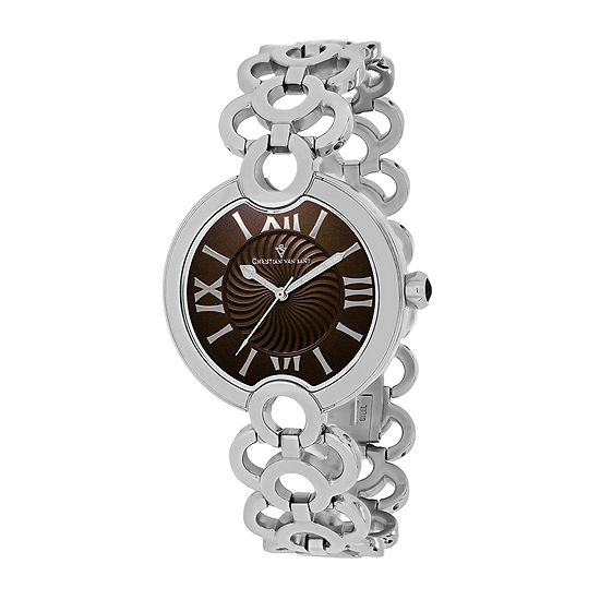 Christian Van Sant Twirl Womens Brown Dial Silver-Tone Bracelet Watch