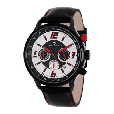 Christian Van Sant Speedway Mens Red & Black Leather Strap Watch