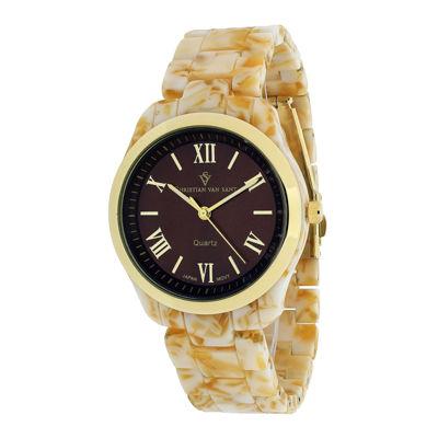 Christian Van Sant Granite Womens Tan Plastic Bracelet Watch