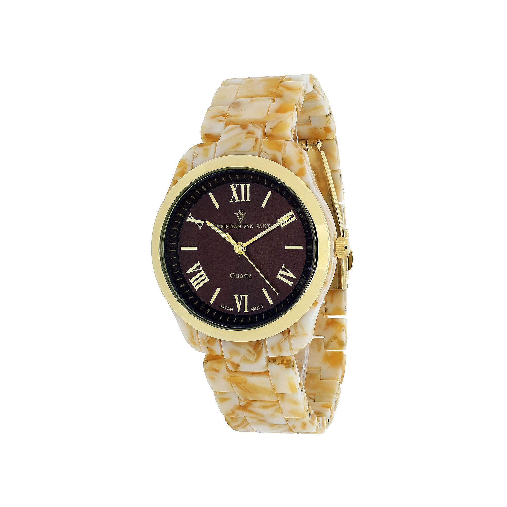 Christian Van Sant Granite Womens Tan Plastic Bracelet Watch