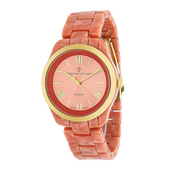 Christian Van Sant Granite Womens Pink Plastic Bracelet Watch
