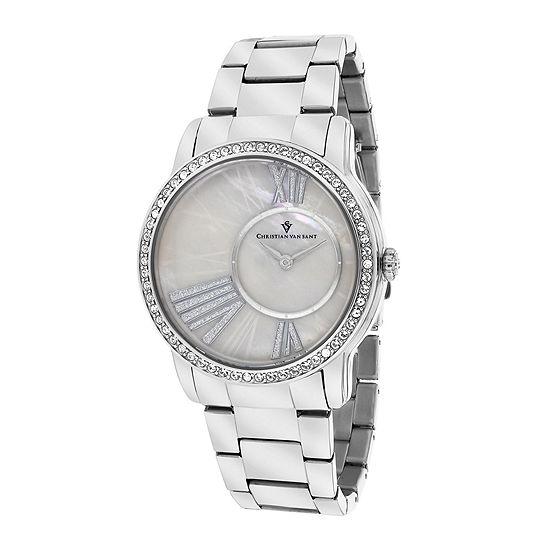 Christian Van Sant Womens Exquisite Faux Pearl Watch