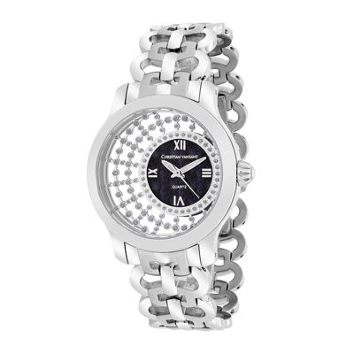 Christian Vant Sant Womens Delicate Silver-Tone & Black Faux Pearl Watch