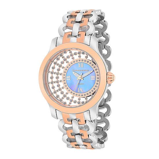 Christian Van Sant Womens Delicate Two-Tone & Purple Faux Pearl Watch